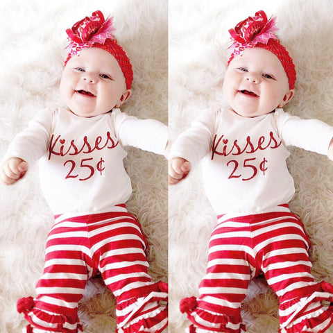 c920de45d8a6 Baby Clothes Newborn Baby Boy Girl Outfits Letter Romper Tops Striped Pants  Set Valentine Cloting L1205