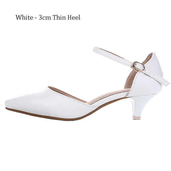 Basic Wedding Women Buckle Sandals Med Heels Summer Leather White and Black Women Summer Cover Heel  Solid Lace up Sandals