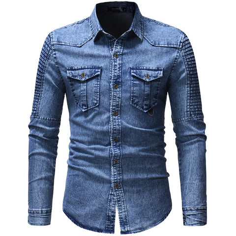 Denim mens shirts casual slim fit camisa social Long sleeve Jeans shirt for male clothing Blouse men blusas gray