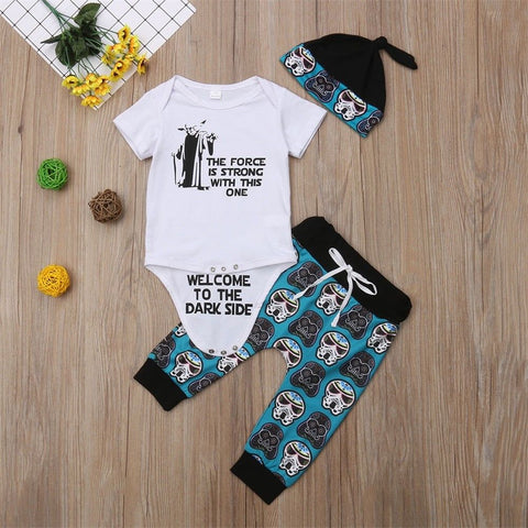 Spring Summer Infant Newborn Baby Girl Boy White Star Wars Cartoon Shirt Romper Tops+Pants Trouser+Hat Outfit Clothes 0-18M