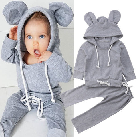 Casual Newborn Baby Boys Girls Outfits Grey Cotton Hoodies Tops+ Pants 2PC Set Warm Baby Autumn Clothes