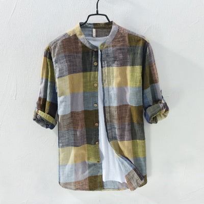 Arrival Men Fashion Brand Colourful Vintage Plaid Slim Fit Long Sleeve Cotton Linen Shirt Male Casual Thin Shirt Clothes