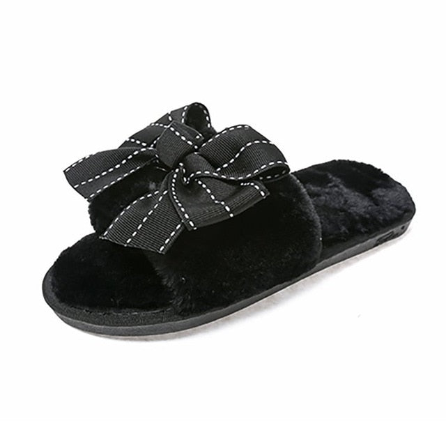 Women Plush House Slippers Faux Fur Winter Warm Shoes Woman Slip on ... 5a31016f90c4