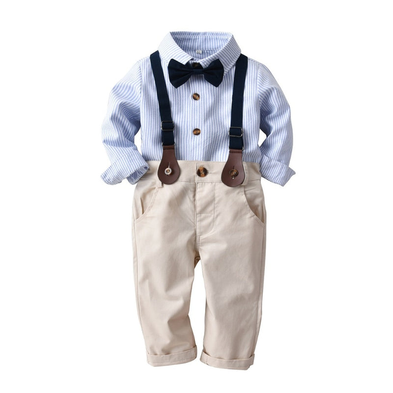 Baby Boys Clothes Set Long Sleeve Plaid Gentleman Suit For Boys Children Clothing Cotton Costume For Kids Suits 3Pcs