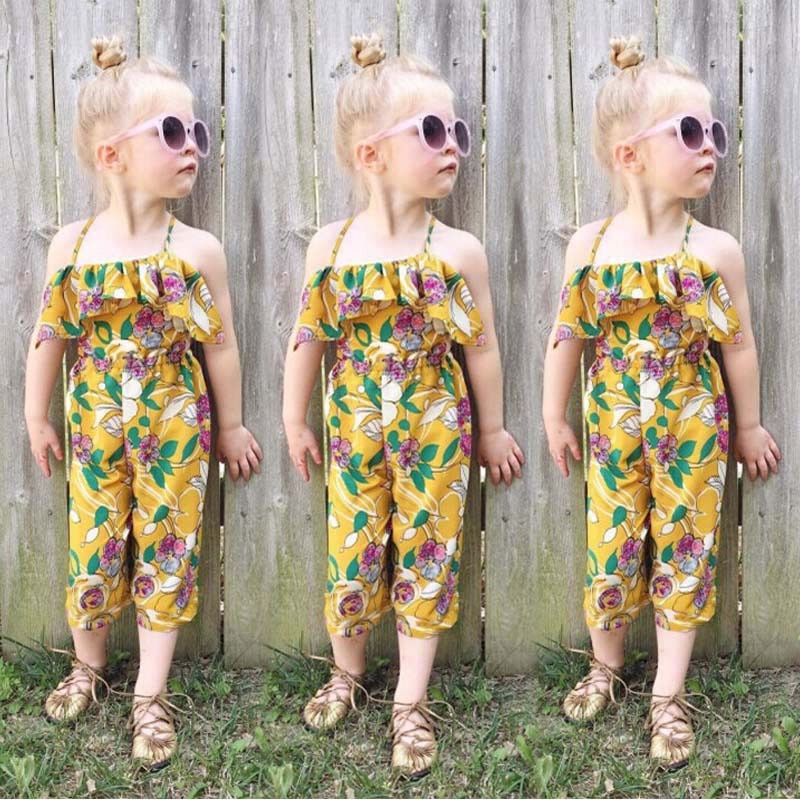 376947f644d5 New Baby Girl Sleeveless Ruffles Jumpsuit Floral Infant Baby Girls ...