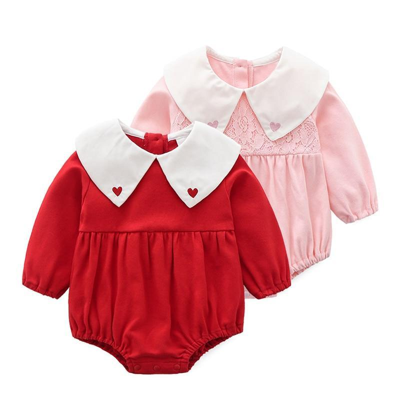 Toddler Baby Girl Clothes Kids Baby Rompers Jumpsuit Long Sleeve Solid Outfits Peter Pan Collar Girls' Baby Clothing Mother & Kids