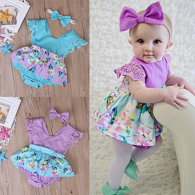 Summer Princess Floral  Romper Dress Baby Girl Clothes Lace Sleeve+Headband 2Pcs Outfits Sunsuit