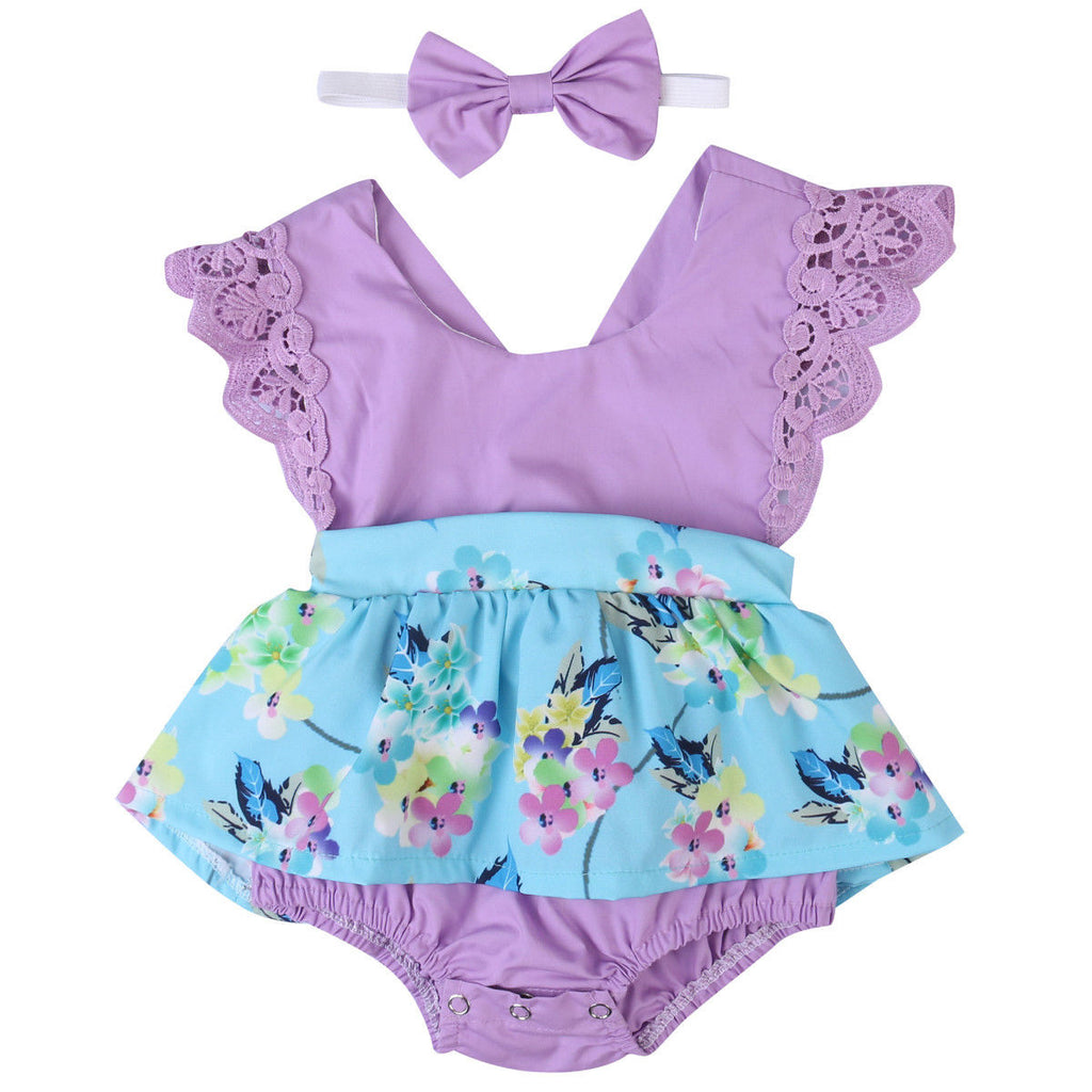 fb6394868cf1 Summer Princess Floral Romper Dress Baby Girl Clothes Lace Sleeve+Head |  JOHNKART.COM. }