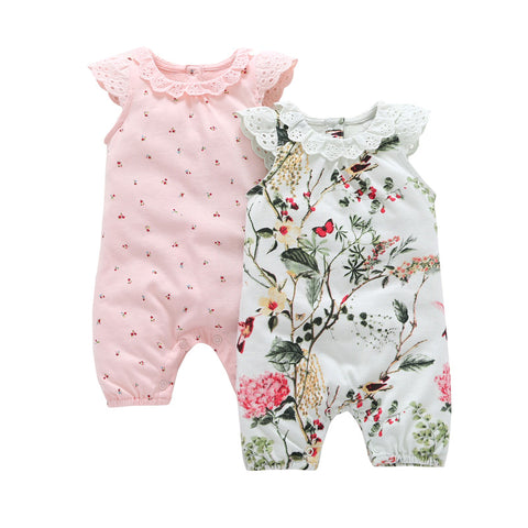 Special Offer Promotion Baby Girls Floral O-neck Summer Baby Sleeveless Set Cotton Lady 2 Sets Of Infant Newborn Clothes