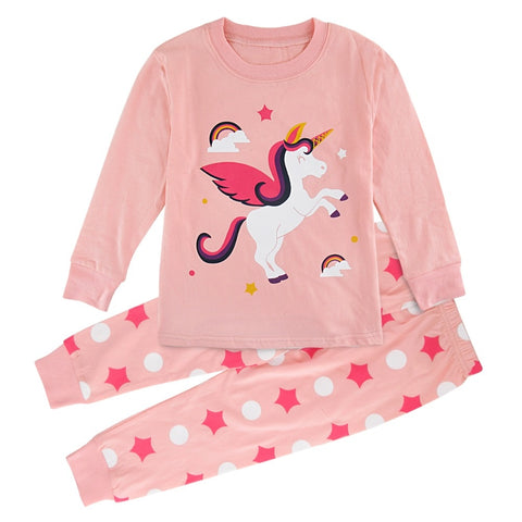 Kids Girl Unicorn Pyjamas Enfant Winter Christmas Pajamas Child Striped Pijamas Clothes Children Sleepwear Longsleeve Nightwear