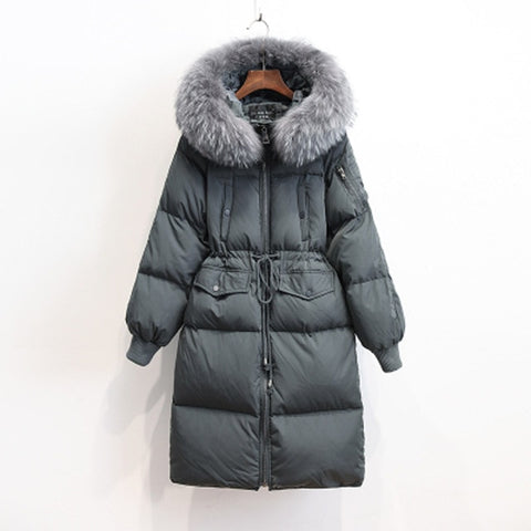 Winter Parka Real Raccoon Fur White Duck Down Jacket Women Thicken Brand Coat Hooded Invierno
