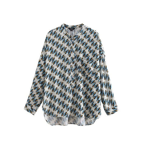women vintage geometric pattern blouse pocket long sleeve pleated shirts ladies fashion chic tops blusas LLA172