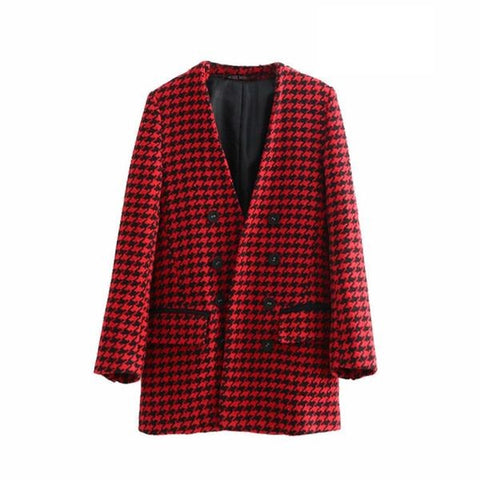 Autumn Elegant Double Breasted Houndstooth Long Blazer Coat V Neck Pockets Outerwear Casual Casaco Femme