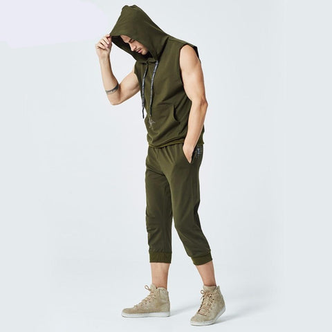 Mens Sleeveless Hoodies Fashion Casual Hooded Sweatshirt Men bodybuilding Tank Top 2 Piece Sets Hip Hop waistcoat vest Tops
