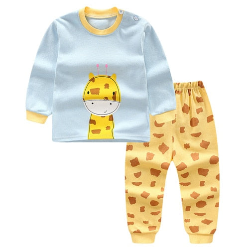 New Baby Boy Clothes Cotton Baby Girl Clothing Sets Cartoon Long-sleeved T-shirt+Pants Infant Clothes 2pcs Suit