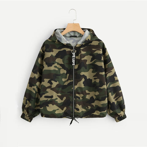 Camo Print Drawstring Hem Hooded Jacket Casual Streetwear Women Jacket Fashion Spring Autumn Womens Outerwear