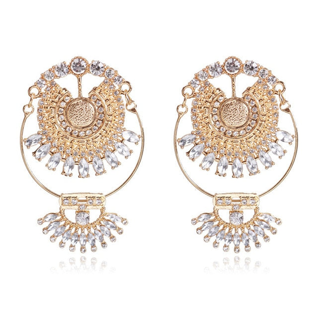 New Fashion  Luxury Brand Rhinestones Water Drop Crystal Geometric Gem Designer Vintage Earrings For Women Free Shipping
