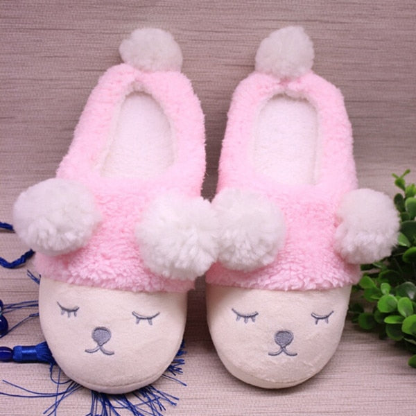 9830b941e15 ... Women Winter Home Slippers Cartoon Sheep Shoes Non-slip Soft Winter  Warm House Slippers Indoor ...