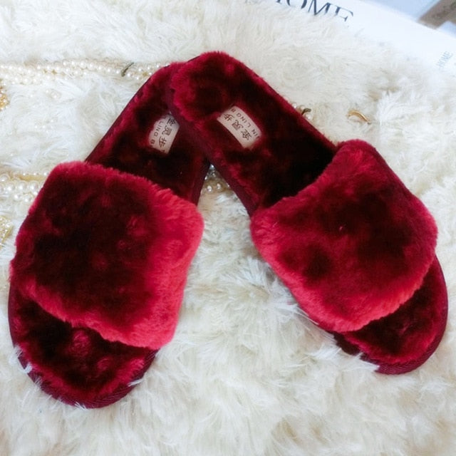 best choice exclusive deals fast delivery Women Plush Slippers Winter Fluffy Slides Faux Fur House Slipper ...