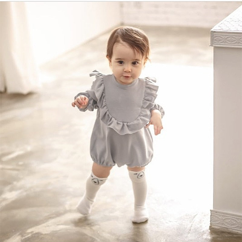 5cd29d7bd31 Baby Girl Long Sleeve Rompers New Born Baby Ruffle One-piece Kids Cute