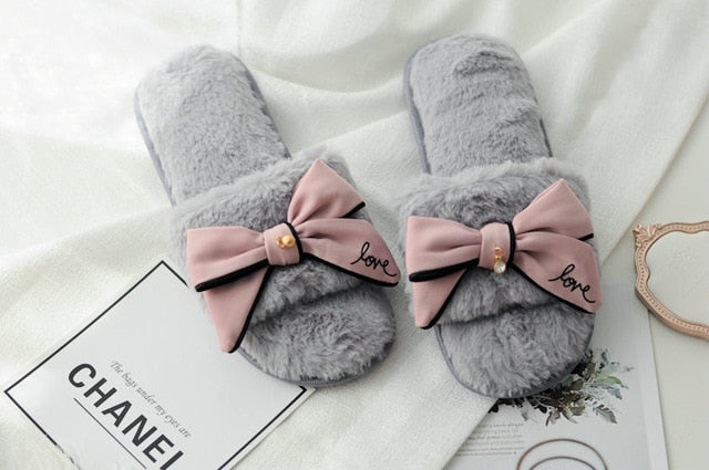 c91d8f215 ... Cute flip flops sweet lace bow Plush slides women At home Indoor  slippers with flower Fish ...