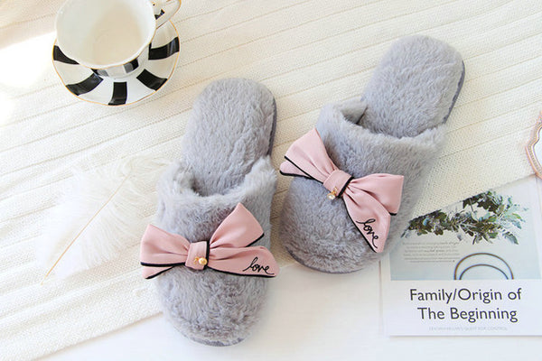 Cute flip flops sweet lace bow Plush slides women At home Indoor slippers with flower Fish mouth