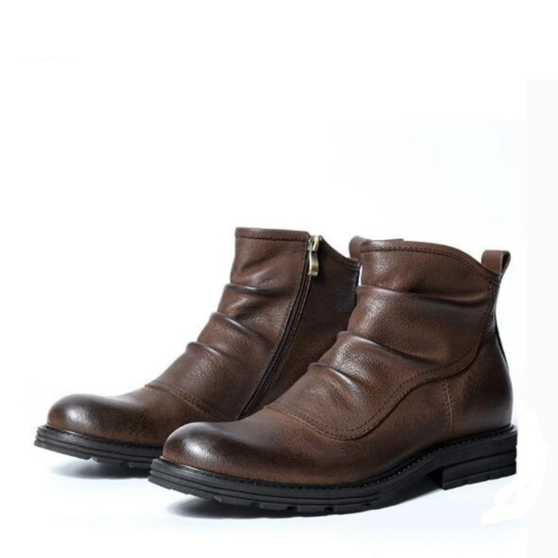 fd1396f0c57ba3 British style Vintage Men Chelsea boots Genuine leather Comfortable Outdoor  tooling boots Male shoes Ankle Martin ...