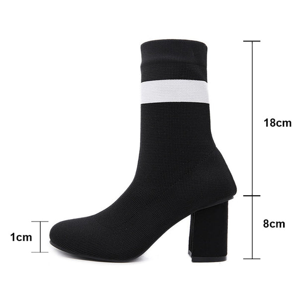 Autumn Women High Tube Stocking Boots Fashion Thick High Heels Shoes Women Elastic Knitting Sock Thin Leg Mid Calf Boots WB1436