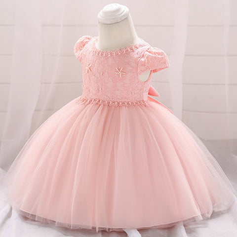 Toddler Baby Girls Lace Ball Gown Dress Embroidery Newborn Infant 1 Years  Old Birthday Baptism Dress 3bb62cea3f32
