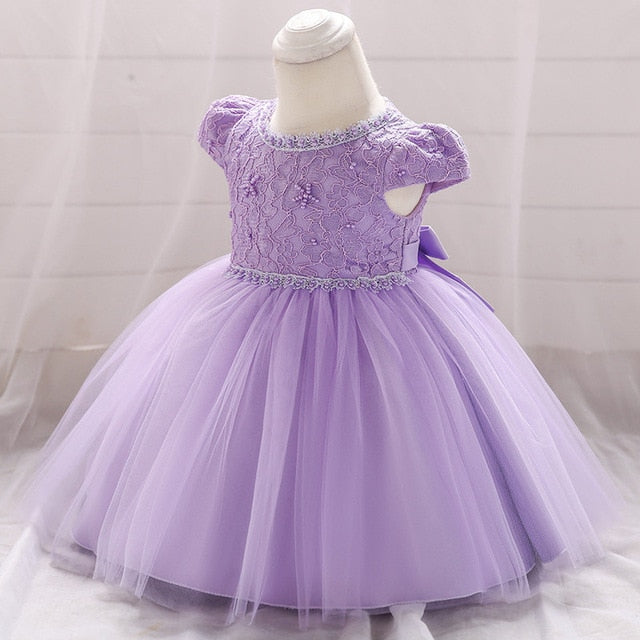 Toddler Baby Girls Lace Ball Gown Dress Embroidery Newborn Infant 1 Years Old Birthday Baptism