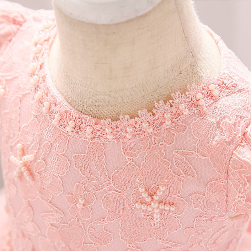 Toddler Baby Girls Lace Ball Gown Dress Embroidery Newborn Infant 1 Years Old Birthday Baptism Dress Baby Girl Chirstening Dress