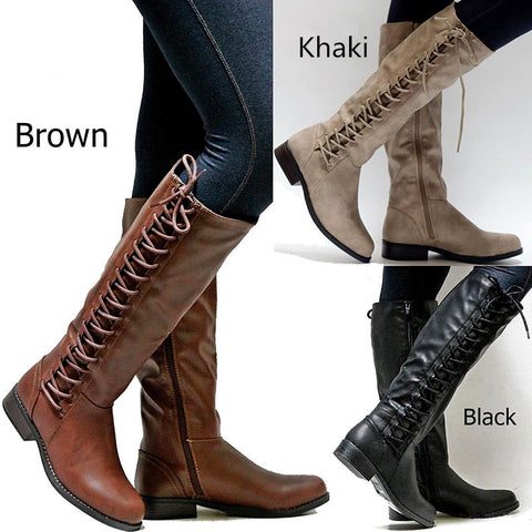 Women Winter Shoes Genuine Leather Winter long Boots High Quality Knee High Boots Lace-Up Motorcycle Boots