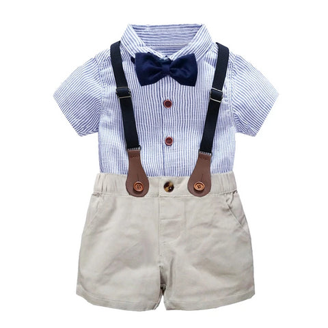 kids boys clothing set gentlemen outfits summer newborn baby boy bow tie shirt+overall short infant clothes for party wear