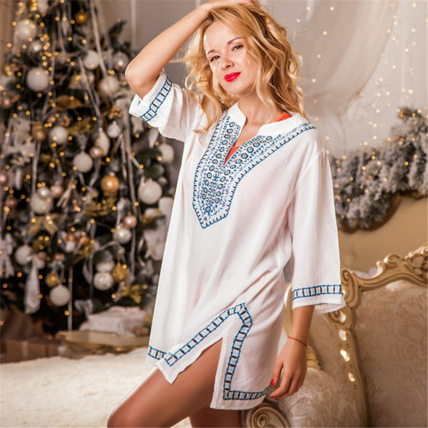 Embroidery Summer Dress Indie Folk Side Split Straight Mini Dresses Woman V-neck Half Sleeve Casual Dress Beach Tunic N549