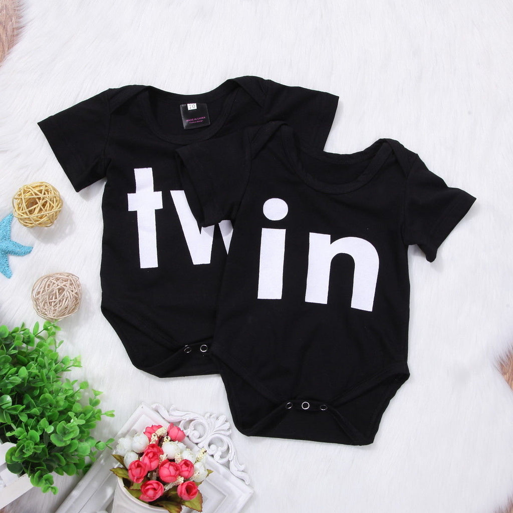 81d6f37a449e6 Newborn Toddler Twins Baby Girls Boys Clothes Letter Romper Jumpsuit  One-piece Outfits