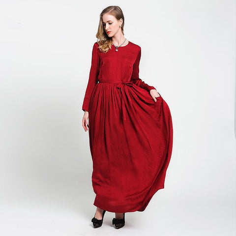 Autumn Red Long Sleeve Silk Maxi Dress Brief Casual Tunic Lace Up Plus Size Women Loose Dresses vestidos A6057