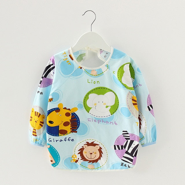 Bibs & Burp Cloths Cute Cartoon Baby Bibs Waterproof Infant Eating Children Drawing Long Sleeve Apron Baby Self Feeding Bib