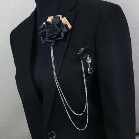 Free Shipping male female MC pectoral brooch fringed suit accessories Black Rose Corsage on sale