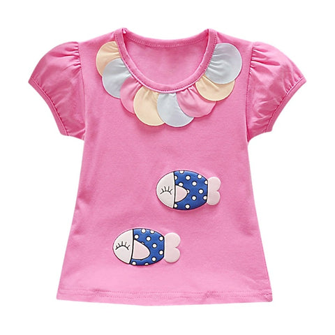 Summer Toddler Girl Short Sleeve Cartoon Printed Pattern T-shirt Tops Cotton Casual Outfits New