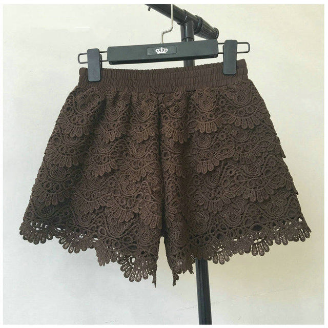 8 Colors Hollow Lace Shorts Women Hotpants Summer Black Shorts Feminino Women Short Beach Elastic High Waist Sexy Shorts C4417