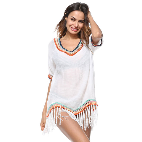 Women Tassels Cover Ups O Neck Half Sleeves Saida De Praia Asymmetrical Hemline Swimwear Women Pareo Boho Beach Covers Up