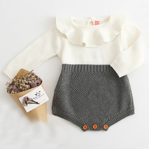 Autumn Cute Newborn Baby Girl Long-sleeved Knitting Stitching Romper Warm Jumpsuit Outfits Clothes Fashion Baby Rompers