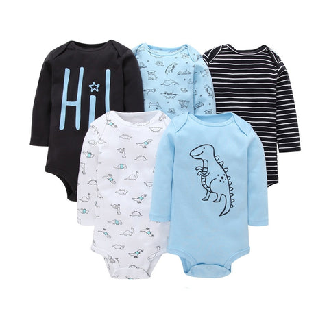 Teenster  Baby Bodysuit 5pcs Autumn Long Sleeve Kids Clothes Newborn Twinsbodysuits Infant Girl Boy Clothes 3 6 9 12 18 M