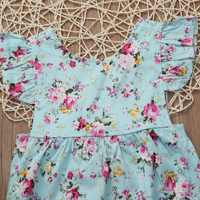 Toddler Baby Girls Print Floral Ruffle Sleeve Romper One Piece Jumpsuit Summer Floral Cotton clothes 0-18M
