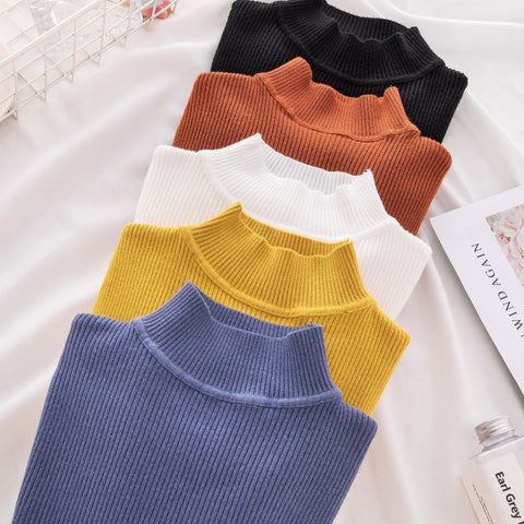 New Women's Turtleneck Sweater Women Casual Knitted Pullover Women Winter Tops Korean Sweaters Fashion 2018 Women Sweater Jumper