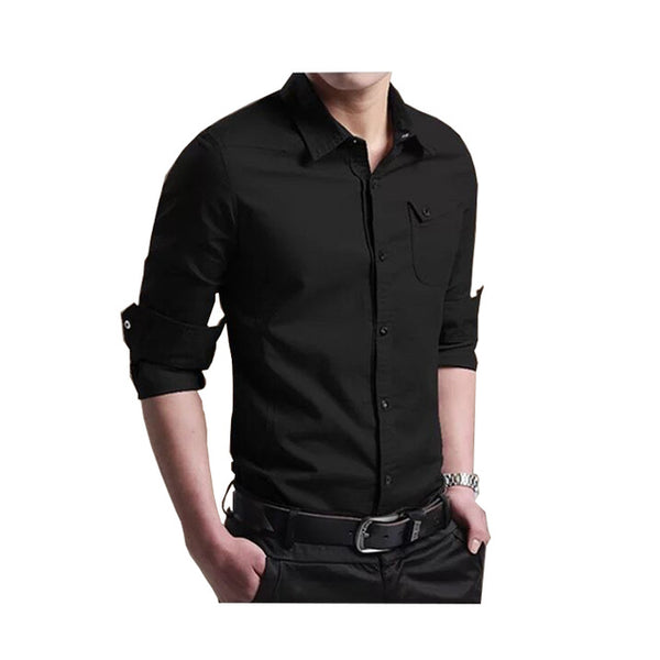 new brand spring new men's cotton long-sleeved shirt Slim youth spring and autumn shirt military wind shirt