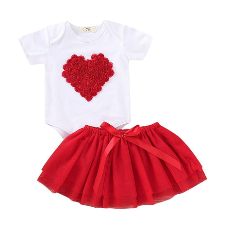 FASHION Newborn Baby Girls Outfits Cotton Baby Valentines Outfit Heart-Shaped Rose Romper+Tutu Skirt Set L1228