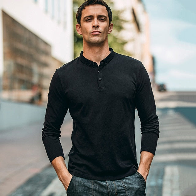 b5b64e5960311 Autumn Men Polo Shirt 100% Cotton Solid Black Gray Color For Man Casual  Long Sleeve Slim Clothing 2018 New Male Wear Tops 1504