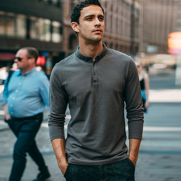 Autumn Men Polo Shirt 100% Cotton Solid Black Gray Color For Man Casual Long Sleeve Slim Clothing 2018 New Male Wear Tops 1504