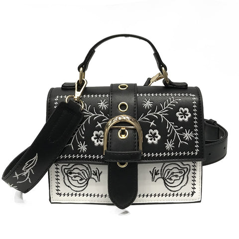 Fashion Leather Women Crossbody Bag Floral Embroidery Hasp Flap Female Shoulder Bag Fresh Style Lady Messenger Bag